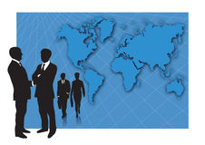 Business people and world map. Business presentation with world map background for slides with groups af business men and woman – copy space for your writing Royalty Free Stock Photo