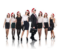 Business people in a xmas hat Stock Photo