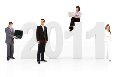 Business people with the year 2011 Stock Photography
