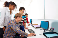 Business people young multi ethnic computer desk Stock Photo