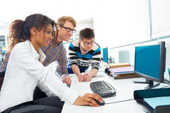 Business people young multi ethnic computer desk Stock Image
