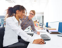 Business people young multi ethnic computer desk Royalty Free Stock Photos