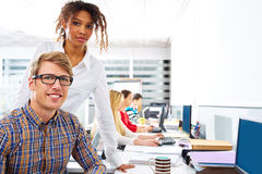 Business people young multi ethnic computer desk Stock Photos