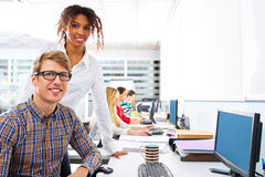 Business people young multi ethnic computer desk royalty free stock image