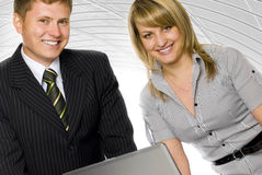 Business peoples. Posing of two smiling business peoples Royalty Free Stock Image