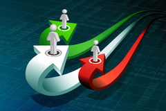 Business peoples on growth arrow Stock Photography