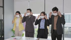 Business peoples wearing masks to prevent COVID 19 infection. According to the New Normal Life-style