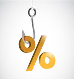 Business percentage sign and hook illustration Stock Photography