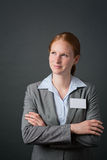 Business Person with Blank Name Tag Royalty Free Stock Images