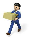 Business person carrying big parcel. Royalty Free Stock Photos