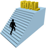 Business person climbs steps achieve goal. Business man climbs up stair steps to achieve success goal vector illustration