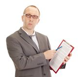 Business person with clipboard. A business person with a clipboard Stock Image