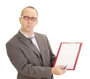 Business person with clipboard. A business person with clipboard Stock Images