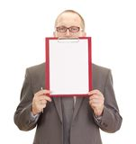 Business person with clipboard Royalty Free Stock Photos