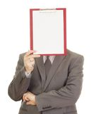 Business person with clipboard. In front of face Stock Image