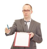 Business person with clipboard. And pen Royalty Free Stock Images