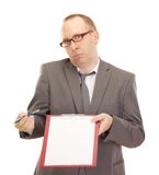Business person with clipboard. And pen Stock Photos