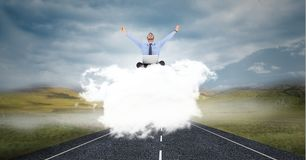 Business person on cloud. Digital composite of Business person on cloud stock photos