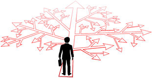 Business person confusing decisions path. Business man faces complicated choices and confusing decisions to go forward royalty free illustration