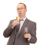Business person drinking champagne Stock Images