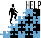 Business person find help solution. Business man climbing problem puzzle to find help solution Royalty Free Stock Photography