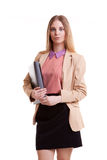 Business person with folder in hand Royalty Free Stock Photos