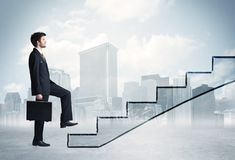 Business person in front of a staircase stock illustration