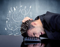 Business person with frustrated thoughts Stock Photo