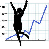 A Business Person Growth Success Chart. A business woman silhouette jumps and raises her fists in celebration of success on a chart of growth or profit Royalty Free Stock Image