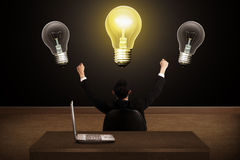 Business person have bright idea light bulb Royalty Free Stock Image