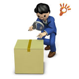 Business person looking for a corrupt cardboard box Royalty Free Stock Image