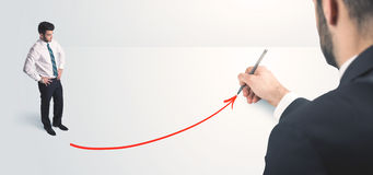 Business person looking at line drawn by hand Royalty Free Stock Photography