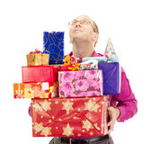Business person with a lot of gifts Stock Image