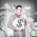 Business person with money sack. Financial success Stock Photography