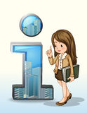A business person beside the number one figure with buildings. Illustration of a business person beside the number one figure with buildings on a white Stock Photography