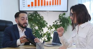 Business person partnership talking using digital tablet collaboration office.  stock footage