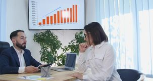 Business Person Partnership Talking Using Digital Tablet Collaboration Office.  Royalty Free Stock Images