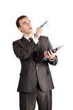 Business person point with pen Royalty Free Stock Images