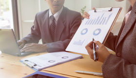 Business person present to professional investor working new sta. Rt up project. Finance managers meeting and discussion about analysis data on charts and graphs stock photo
