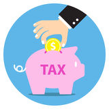 Business person's hand collecting coin into piggy bank for tax Stock Photography