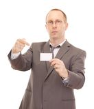 Business person showing visiting card Stock Photos