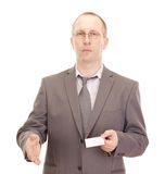 Business person showing visiting card Royalty Free Stock Photography