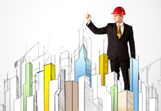 Free Business Person Sketching A City Sight Stock Photo - 91301290