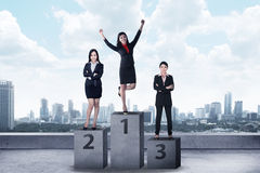 Business person standing on the podium Royalty Free Stock Photography