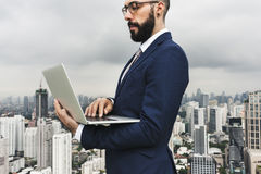Business Person Standing Rooftop Concept. Business Person Standing Communicating Rooftop Stock Images