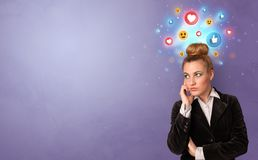 Business person standing with social media concept stock image