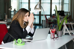 Business Person thinking Face expression in Office Interior Stock Photos