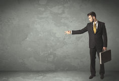Business person throwing with empty copyspace Royalty Free Stock Images