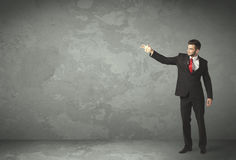 Business person throwing with empty copyspace. In a room Royalty Free Stock Photography
