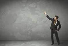 Business person throwing with empty copyspace Stock Image